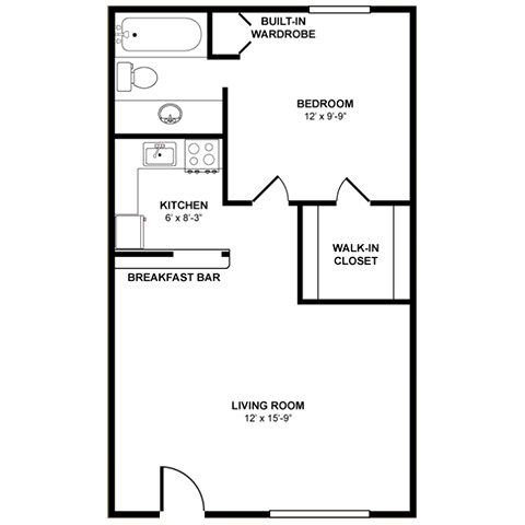 The Maple 2 Bedrooms, 1 Bathroom Floor Plan