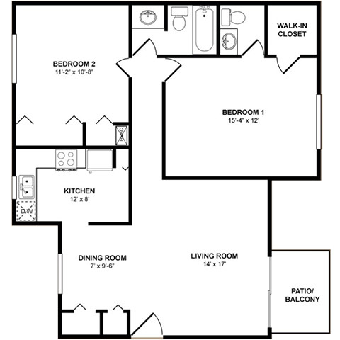 The Oak 2 Bedrooms, 2 Bathrooms Floor Plan